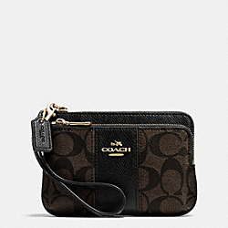 COACH SIGNATURE COATED CANVAS DOUBLE CORNER ZIP - LIGHT GOLD/BROWN/BLACK - F52853