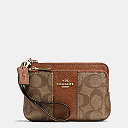 COACH SIGNATURE COATED CANVAS DOUBLE CORNER ZIP - LIGHT GOLD/KHAKI/SADDLE - F52853