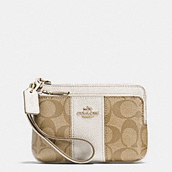 COACH DOUBLE CORNER ZIP IN SIGNATURE - LIGHT GOLD/LIGHT KHAKI/CHALK - F52853