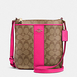 NORTH/SOUTH CROSSBODY IN SIGNATURE CANVAS - f52856 -  LIGHT GOLD/KHAKI/PINK RUBY