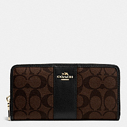 COACH F52859 - SIGNATURE CANVAS WITH LEATHER ACCORDION ZIP WALLET LIGHT GOLD/BROWN/BLACK