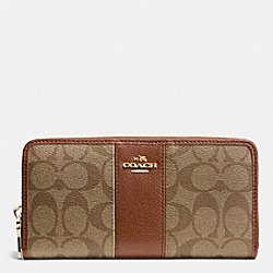 COACH F52859 - SIGNATURE CANVAS WITH LEATHER ACCORDION ZIP WALLET LIGHT GOLD/KHAKI/SADDLE