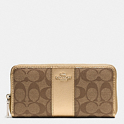 COACH ACCORDION ZIP WALLET IN SIGNATURE CANVAS WITH LEATHER - IMITATION GOLD/KHAKI/GOLD - F52859
