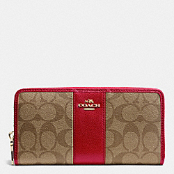COACH SIGNATURE CANVAS WITH LEATHER ACCORDION ZIP WALLET - LIGHT GOLD/KHAKI/RED - F52859