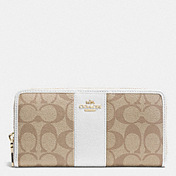 COACH ACCORDION ZIP WALLET IN SIGNATURE CANVAS - LIGHT GOLD/LIGHT KHAKI/CHALK - F52859
