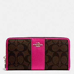 ACCORDION ZIP WALLET IN SIGNATURE CANVAS WITH LEATHER - f52859 - IMITATION GOLD/BROWN/PINK RUBY