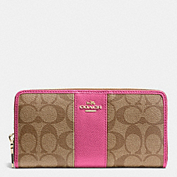 COACH ACCORDION ZIP WALLET IN SIGNATURE CANVAS WITH LEATHER - IMITATION GOLD/KHAKI/DAHLIA - F52859