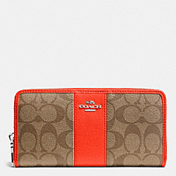 COACH ACCORDION ZIP WALLET IN SIGNATURE COATED CANVAS WITH LEATHER - SILVER/KHAKI/ORANGE - F52859