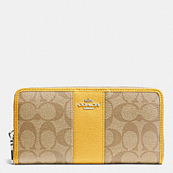 COACH ACCORDION ZIP WALLET IN SIGNATURE CANVAS WITH LEATHER - SILVER/LIGHT KHAKI/CANARY - F52859