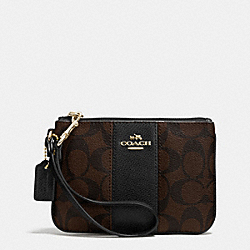 COACH F52860 - SIGNATURE CANVAS SMALL WRISTLET WITH LEATHER LIGHT GOLD/BROWN/BLACK