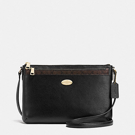 COACH f52881 CROSSGRAIN LEATHER EAST/WEST POP CROSSBODY LIGHT GOLD/BLACK