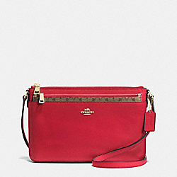 EAST/WEST POP CROSSBODY IN CROSSGRAIN LEATHER - f52881 - IMITATION GOLD/TRUE RED