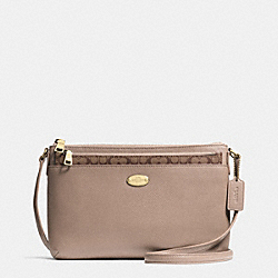 COACH CROSSGRAIN LEATHER EAST/WEST POP CROSSBODY - LIGHT GOLD/STONE - F52881