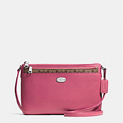 COACH CROSSGRAIN LEATHER EAST/WEST POP CROSSBODY - SILVER/SUNSET RED - F52881