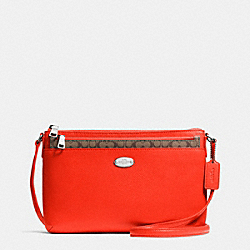 COACH CROSSGRAIN LEATHER EAST/WEST POP CROSSBODY - SILVER/ORANGE - F52881
