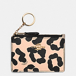 COACH MINI SKINNY IN OCELOT PRINT CROSSGRAIN LEATHER - LIGHT GOLD/APRICOT - F52905