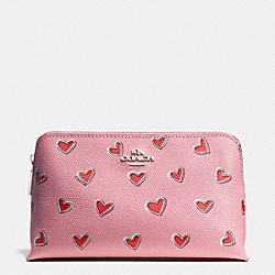 COACH COSMETIC CASE 19 IN HEART PRINT LEATHER - SILVER/PINK - F52908