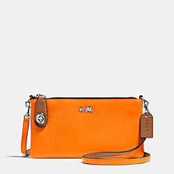 COACH C.O.A.C.H. HERALD CROSSBODY IN POLISHED PEBBLE LEATHER - SILVER/NEON ORANGE - F52914