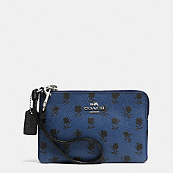 COACH CORNER ZIP WRISTLET IN PRINTED CROSSGRAIN LEATHER - SVDSS - F52926