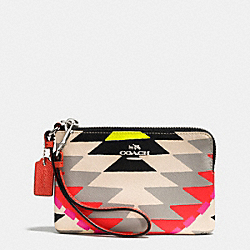 COACH CORNER ZIP WRISTLET IN PRINTED CROSSGRAIN LEATHER - SVE2M - F52926