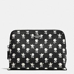 COSMETIC CASE IN PRINTED CROSSGRAIN LEATHER - SILVER/BK PCHMNT BDLND FLR - COACH F52927
