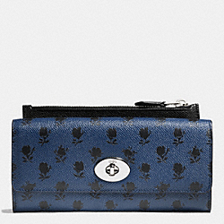 SLIM ENVELOPE WALLET WITH POP-UP POUCH IN PRINTED CROSSGRAIN LEATHER - f52965 - SVDSS