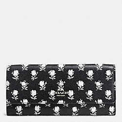 COACH SOFT WALLET IN PRINTED LEATHER - SILVER/BK PCHMNT BDLND FLR - F52967