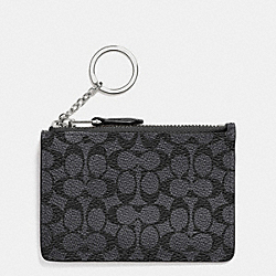 COACH MINI SKINNY IN EMBOSSED SIGNATURE - SILVER/CHARCOAL - F53008