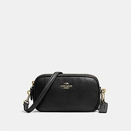 COACH f53034 CROSSBODY POUCH IN PEBBLE LEATHER LIGHT GOLD/BLACK