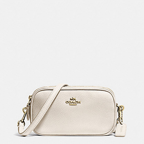 COACH f53034 CROSSBODY POUCH IN PEBBLE LEATHER LIGHT GOLD/CHALK