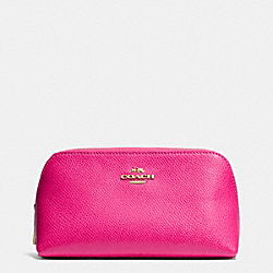 COACH COSMETIC CASE 17 IN CROSSGRAIN LEATHER - LIGHT GOLD/PINK RUBY - F53067