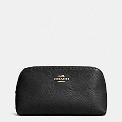 COACH COSMETIC CASE 17 IN CROSSGRAIN LEATHER - LIGHT GOLD/BLACK - F53067