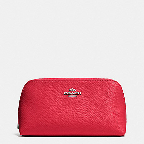 COACH f53067 COSMETIC CASE 17 IN CROSSGRAIN LEATHER SILVER/TRUE RED