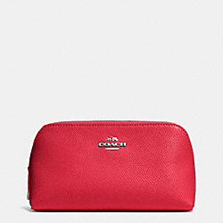COACH COSMETIC CASE 17 IN CROSSGRAIN LEATHER - SILVER/TRUE RED - F53067