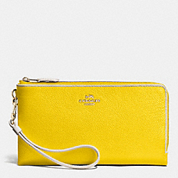 DOUBLE ZIP WALLET IN COLORBLOCK LEATHER - LIDZZ - COACH F53080