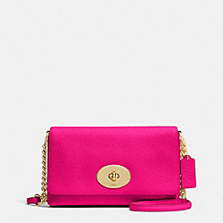 COACH CROSSTOWN CROSSBODY IN PEBBLE LEATHER - LIGHT GOLD/PINK RUBY - F53083