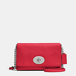 CROSSTOWN CROSSBODY IN PEBBLE LEATHER - f53083 - SILVER/TRUE RED