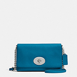 COACH CROSSTOWN CROSSBODY IN PEBBLE LEATHER - SILVER/PEACOCK - F53083