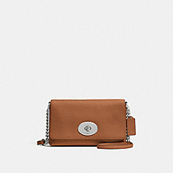 CROSSTOWN CROSSBODY IN PEBBLE LEATHER - f53083 - SILVER/SADDLE