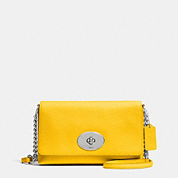 CROSSTOWN CROSSBODY IN PEBBLE LEATHER - f53083 - SILVER/CANARY
