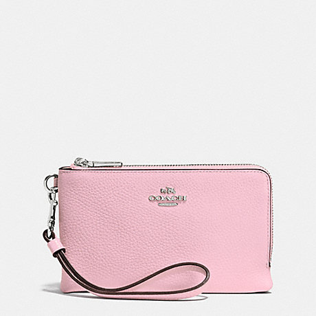 COACH DOUBLE CORNER ZIP WRISTLET IN PEBBLE LEATHER - SILVER/PETAL - f53090
