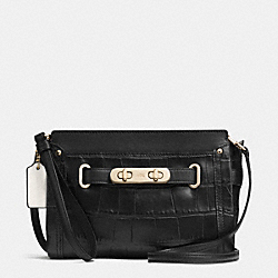 COACH SWAGGER WRISTLET IN CROC EMBOSSED LEATHER - f53108 - LIGHT GOLD/BLACK
