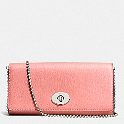 COACH SLIM CHAIN ENVELOPE IN CROSSGRAIN LEATHER - SILVER/PINK - F53124