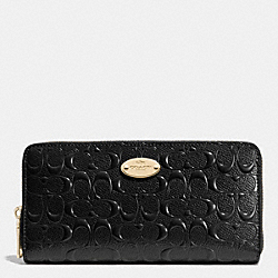 COACH ACCORDION ZIP WALLET IN SIGNATURE DEBOSSED PATENT LEATHER - LIGHT GOLD/BLACK - F53126