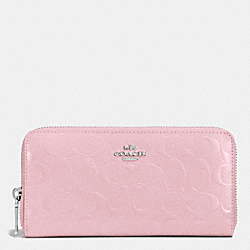 COACH ACCORDION ZIP WALLET IN SIGNATURE EMBOSSED PATENT LEATHER - SILVER/PETAL - F53126