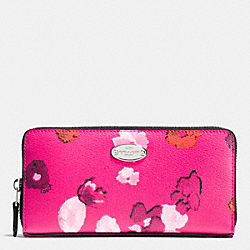 COACH ACCORDION ZIP WALLET IN FLORAL PRINT CANVAS - SILVER/PINK MULTICOLOR - F53128