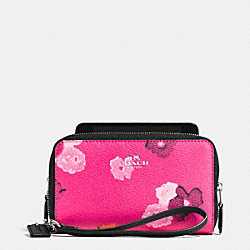 COACH DOUBLE ZIP PHONE WALLET IN FLORAL PRINT CANVAS - SILVER/PINK MULTICOLOR - F53129