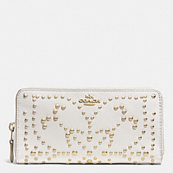 COACH ACCORDION ZIP WALLET IN MINI STUDDED LEATHER - LIGHT GOLD/CHALK - F53135