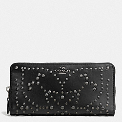 COACH ACCORDION ZIP WALLET IN MINI STUDDED LEATHER - ANTIQUE NICKEL/BLACK - F53135