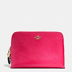 COSMETIC CASE 22 WITH CHARM IN CROSSGRAIN LEATHER - f53136 - LIGHT GOLD/RUBINE RED